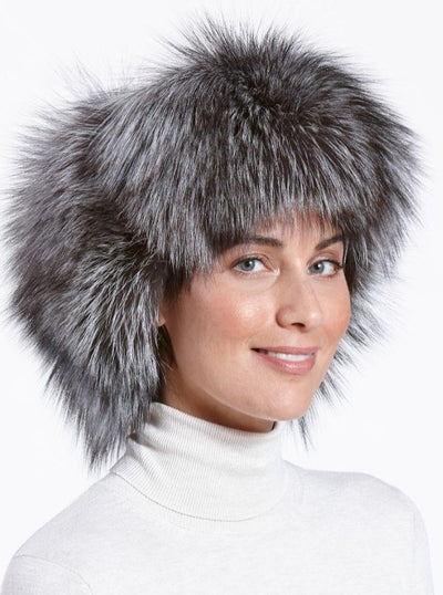 Cameron Women's Silver Fox Leather Trapper Hat - The Fur Store