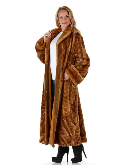 Dahlia Whiskey Mink Coat - The Fur Store