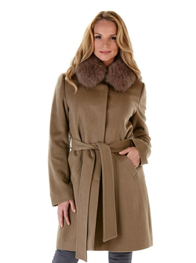 Carly Mocha Cashmere Wool Jacket with Fox Collar - The Fur Store