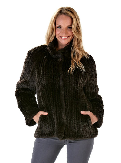 Rosemary Knitted Brown Beaver Jacket - The Fur Store