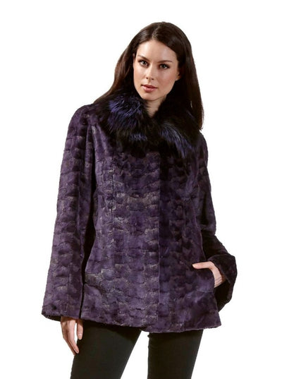 Nia Purple Mink Jacket with Fox Collar - The Fur Store