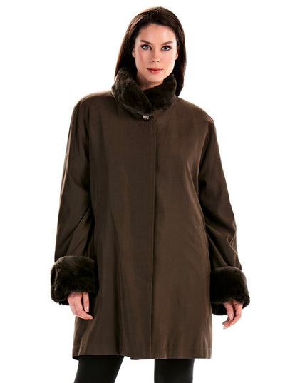 Sylvia Brown Rabbit Lined Microfiber Jacket - The Fur Store