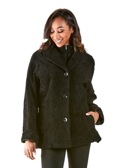 Roberta Black Lamb Jacket - The Fur Store