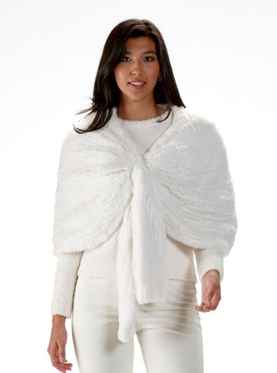 Brenda White Knitted Rex Rabbit Cape - The Fur Store