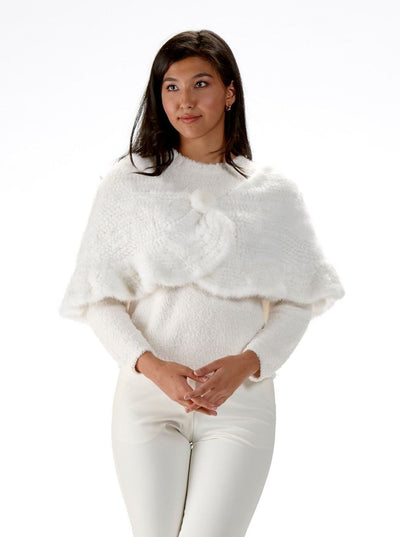Corinne White Knitted Mink Stole - The Fur Store