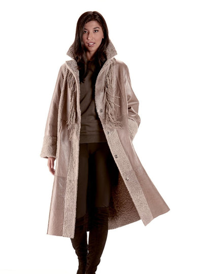 Bess Beige Reversible Shearling Lamb Coat - The Fur Store