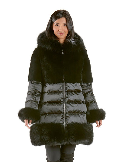 Fleur Black Down Rex Rabbit Jacket with Fox Trim Hood and Cuffs - The Fur Store