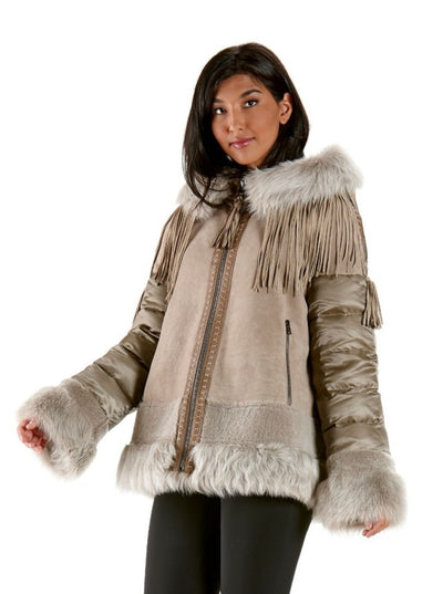 Liz Quilted Beige Lamb Shearling Jacket with Hood - The Fur Store