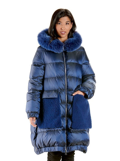 Lisa Puffer Blue Down Coat with Fox Trim Hood - The Fur Store