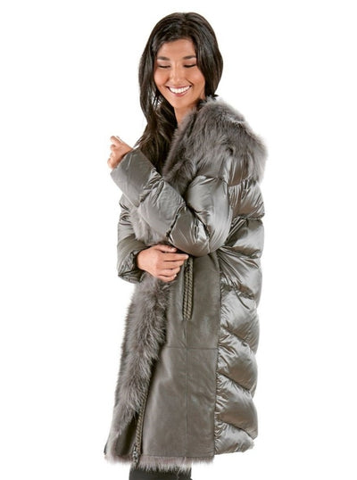Britney Grey Quilted Down Coat with Shearling Trim Hood - The Fur Store