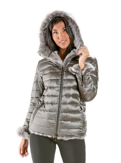 Katalina Quilted Down Filled Jacket Shearling Trim Hood - The Fur Store