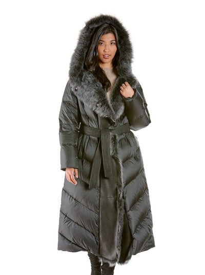 Lara Quilted Black Down Coat with Shearling Hood - The Fur Store