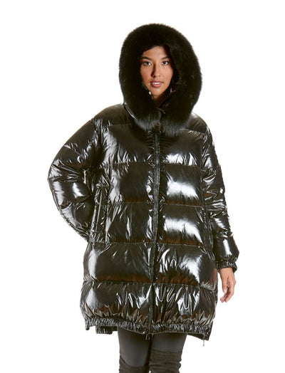 Melinda Black Down Jacket with Fox Trim Hood - The Fur Store