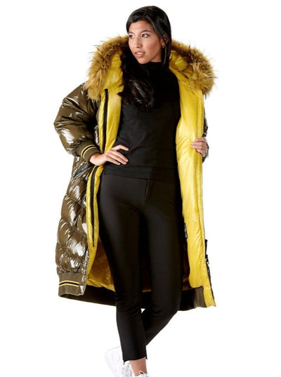 Gail Olive Down Coat with Fur Trim Hood - The Fur Store