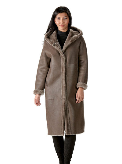 Eileen Brown Shearling Coat with Hood - The Fur Store