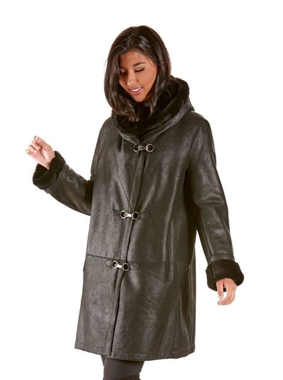 Adela Black Shearling Jacket with Hood - The Fur Store