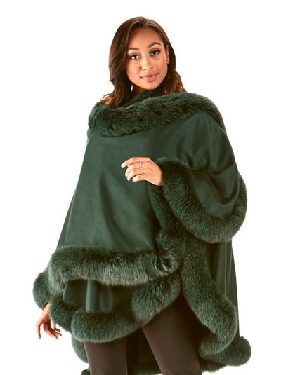 Grace Green 100% Cashmere with Green Fox Trim Cape - The Fur Store