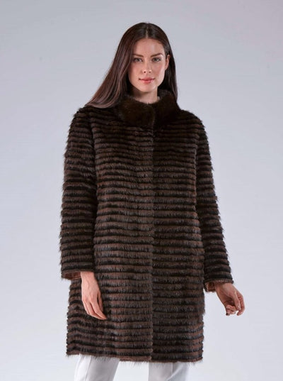 Isabelle Puffer Reversible Brown Mink Jacket - The Fur Store