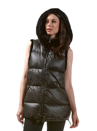 Britt Reversible Black Mink Puffer Vest with Hood - The Fur Store