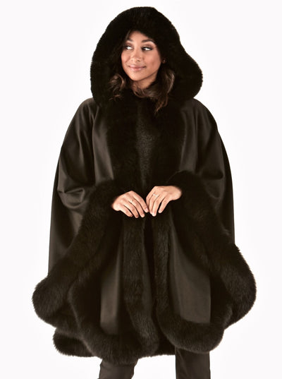 Genie Black 100% Cashmere Cape Black Fox Trim Hood - The Fur Store