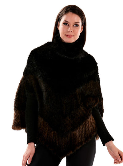 Lyra Black and Brown Knitted Mink Poncho - The Fur Store