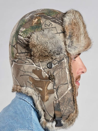 Julian Men's Camo Brown Rabbit Trapper Hat - The Fur Store