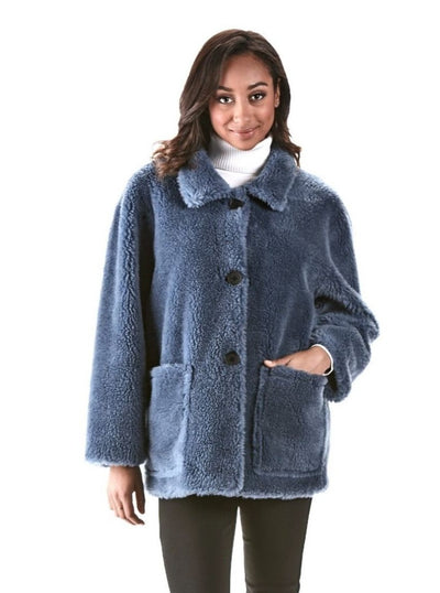 Reversible Blue Teddy Bear Wool Jacket - The Fur Store