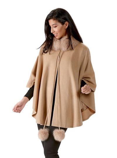 Deborah Camel Wool Cape with Fox Trim - The Fur Store