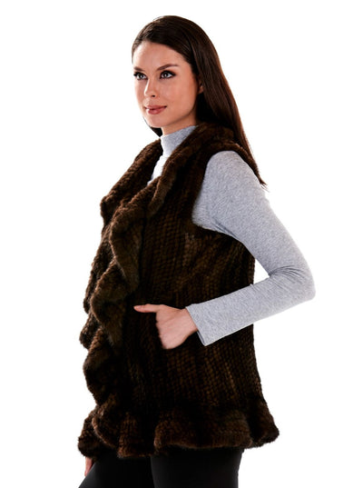 Carlee Mahogany Knitted Mink Fur Vest - The Fur Store
