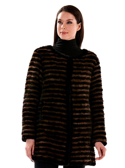 Xenia Two Tone Knitted Mink Jacket - The Fur Store