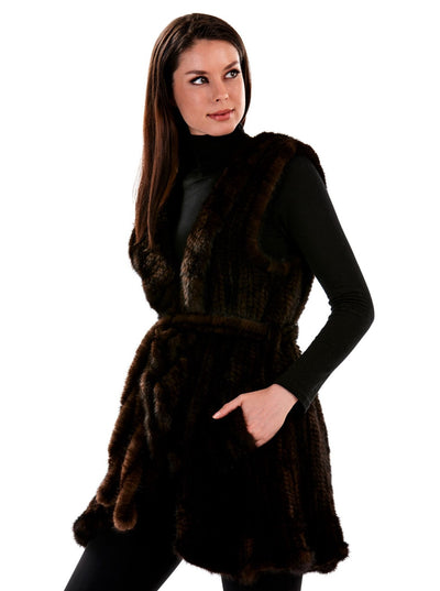 Dania Brown Knitted Mink Vest - The Fur Store