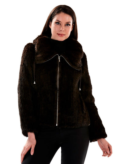 Zaria Brown Knitted Mink Jacket - The Fur Store