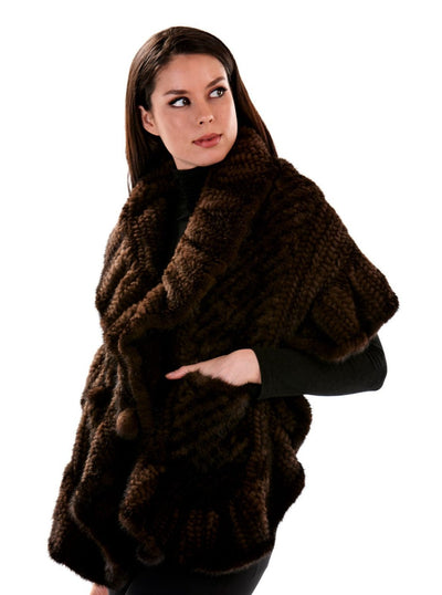 Danika Brown Knitted Mink Fur Cape - The Fur Store