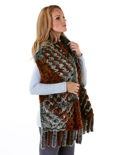 Melia Knitted Rex Rabbit Fur Shawl with Fringes - The Fur Store