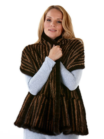 Pat Knitted Brown Mink Shawl Wrap - The Fur Store