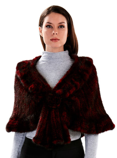 Siena Wine Knitted Mink Fur Cape - The Fur Store