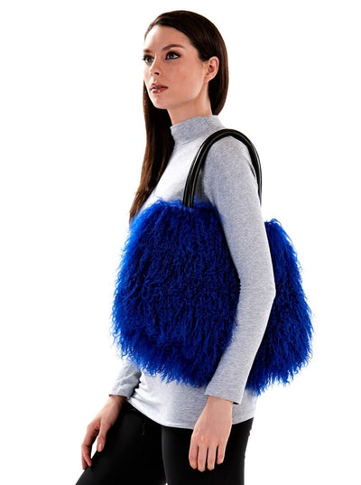 Ashley Blue Mongolian Lamb Hand Bag - The Fur Store