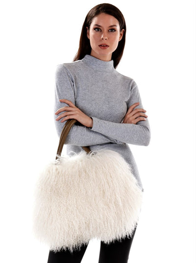 Ashley White Mongolian Lamb Hand Bag - The Fur Store