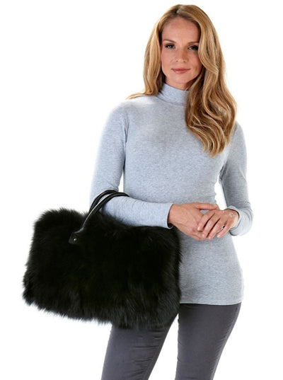 Mary Black Fox Fur Bag - The Fur Store