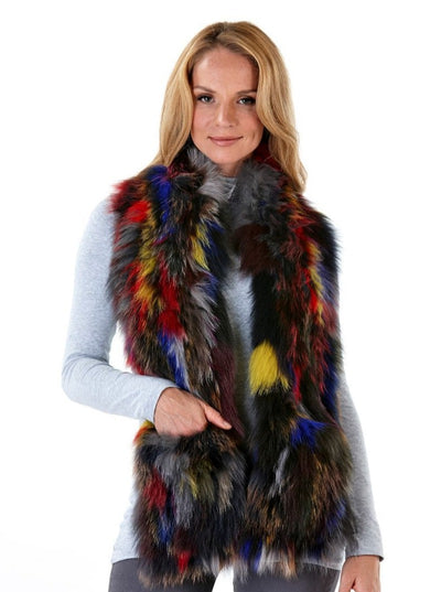 Tatiana Knitted Multi Colored Fox Scarf - The Fur Store
