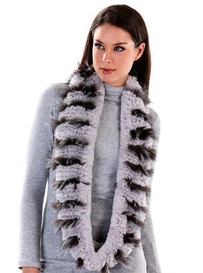 Edith Grey Infinity Rex Rabbit Scarf - The Fur Store