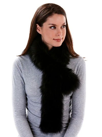Valerie Knitted Black Fox Scarf - The Fur Store