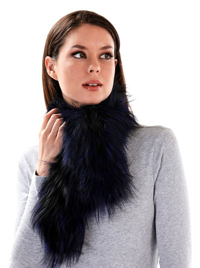Valerie Knitted Blue Fox Scarf - The Fur Store
