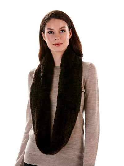 Remi Brown Knitted Rex Rabbit Infinity Scarf - The Fur Store