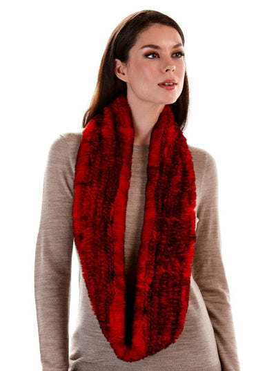 Remi Red Knitted Rex Rabbit Infinity Scarf - The Fur Store
