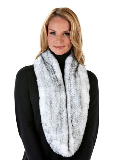 Remi White Knitted Rex Rabbit Infinity Scarf - The Fur Store