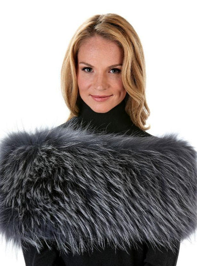 Jade Grey Raccoon Fur Shrug - The Fur Store