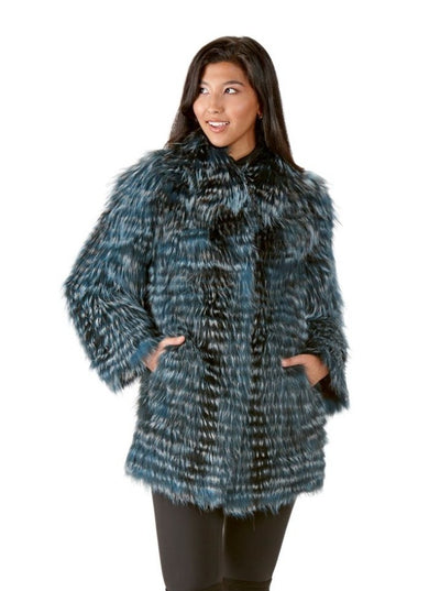 Dolores Blue Silver Fox Jacket - The Fur Store
