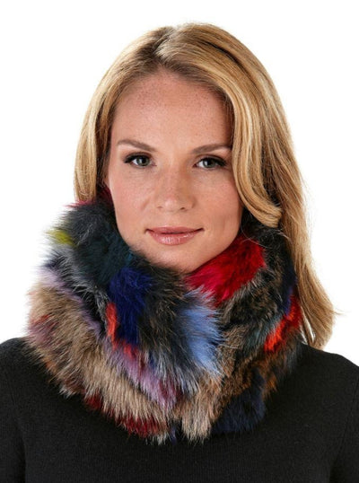 Kaia Multi Color Fox Neck Warmer - The Fur Store