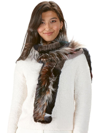 Domenica Multi Color Rex Rabbit Scarf with Silver Fox - The Fur Store